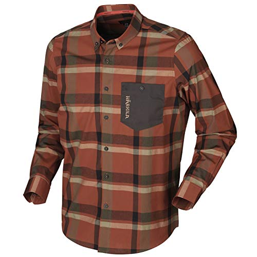 Härkila Amlet L/S Jagd- und Freizeithemd im Active-Fit-Design | Jagdhemd | Outdoorhemd | Freizeithemd (Dark Burnt orange Check, XL)