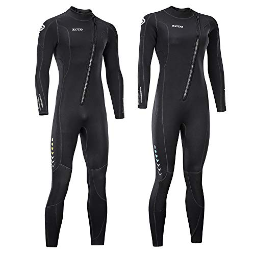 ZCCO Ultra Stretch 3mm Neoprene Wetsuit, Front Zip Full Body Diving Suit, one Piece for Men & Women-Snorkeling, Scuba Diving Swimming, Surfing