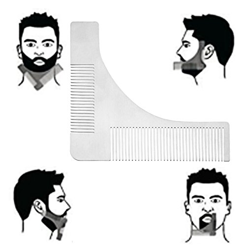 Faleto Edelstahl Bart Schablone Bartkamm Bartpflege für Kinnbart Koteletten Hals, perfekt Bartform, Bart Styling, Silber
