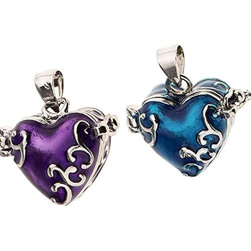 chaosong shop 2 colgantes de urna de corazón esmaltado, color azul