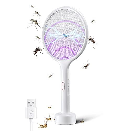 YISSVIC Raqueta Mosquitos Eléctrico 2 en 1 4000V Raqueta Matamoscas Eléctrica, Base Recargable, Diseño de Doble Interruptor con Modo Inteligente y Modo Manual