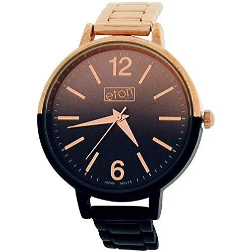 Eton Women Duel Color Plated Black/Rose Shaded Dial Bracelet Strap Watch 3264J