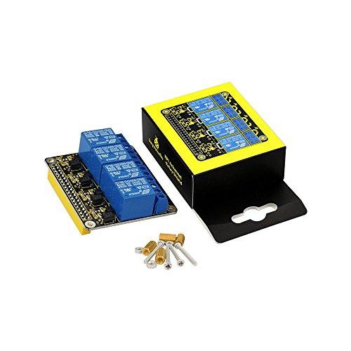 KEYESTUDIO für Raspberry Pi Relais, 4 Kanal DC 5V Relaismodul Bord Schild mit Optokoppler für Raspberry Pi 4/3/2