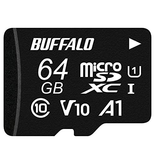 バッファロー microSD 64GB 100MB/s UHS-1 U1 【 Nintendo Switch / ドライブレコーダー 対応 】V10 A1 IPX7 Full HD データ復旧サービス対応 RMSD-064U11HA/N