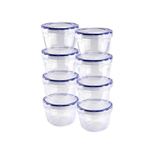 Grizzly Frischhaltedosen Set Rund 8 x 625 ml Vorratsdosen mit Deckel 100% Luft-und Wasserdicht