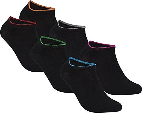 gigando | Edge Bambus-Sneaker-Socken für Damen und Herren | schwarz mit buntem Farbring | extra feines Maschenbild | handgekettelt | Bambus Viskose Stoff | 6 Paar | rot,rosa,grün,blau,orange,silber |