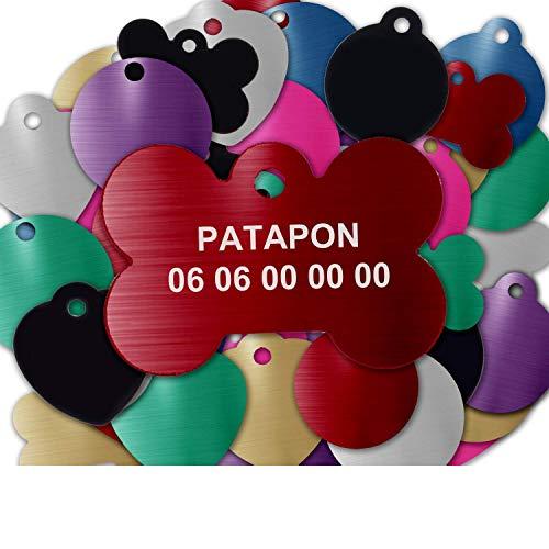 GRAVURE CONCEPT Médaille pour Chien Et Chat À Personnaliser – Médaillon Gravé 31 mm - 1 à 2 Lignes – 8 Couleurs Disponibles (Rouge, Os)
