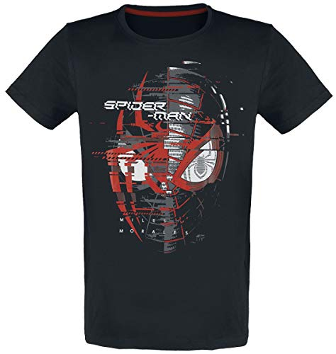 Spider-Man Miles Morales - Spider Head Hombre Camiseta Negro L, 100% algodón, Regul