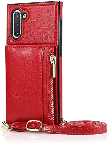 Case for Samsung Galaxy Note 10, Zipper Wallet Case with Credit Card Holder/Crossbody Long Lanyard, Shockproof Leather TPU Case Cover for Samsung Galaxy Note 10 (Color : Red)