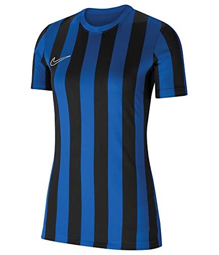 NIKE Camiseta de Mujer Striped Division IV de Manga Corta para Mujer, Mujer, CW3816-463, Azul Real, Negro y Blanco, Extra-Large