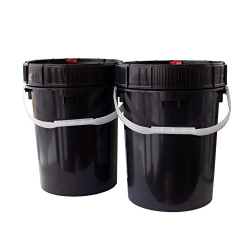 Screw Top Life Latch Bucket w/Easy Turn Ratcheting Lid – 5 Gallon – Black - Quantity 2 – Spill Vak Branded – Air & Water Tight – Heavy Duty (90 Mil) – BPA Free, Food Grade – Stackable Storage Pail