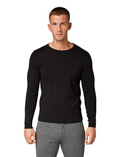 TOM TAILOR Herren Pullover & Strickjacken Schlichter Strickpullover Black,L