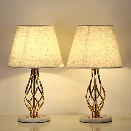 Lot de 2 Lampes de table, des Lampes de Chevet Vintage en avec Socle en Marbre et abat-jour en lin, Pour Chambre, Salon, Bureau