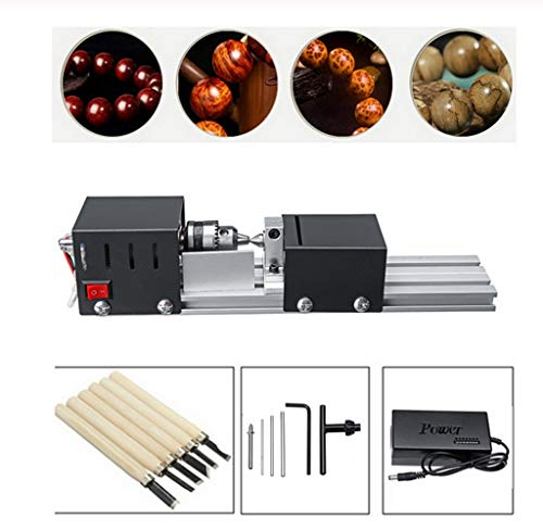 Mini Lathe Beads Polisher Machine DIY CNC Machining for Table Woodworking Wood DIY Tool Lathe Standard Set DC 24V 200W