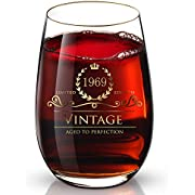 DesBerry 50. Geburtstags- / Jubiläumsgeschenke Weinglas ohne Stiel, Weingläser mit24k Gold handgefertigte Jahreszahl 1969 Universalbecher (1 Stück)