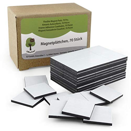 OfficeTree ® 70 Magnetplättchen - 20 x 20 mm - selbstklebend für sichere Magnetisierung von Plakaten Fotos Papier - extra starke Haftkraft an Whiteboard Magnet-Tafel Pinnwand - schwarz