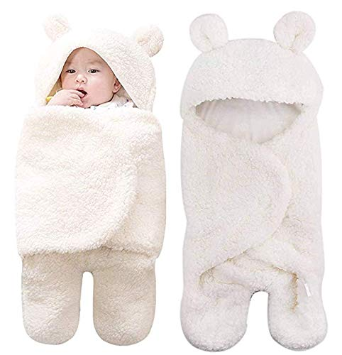 Lawei Mantas ajustables de felpa para bebé, para recién nacidos, niños y niñas, manta de recepción cálida, saco de dormir (blanco)