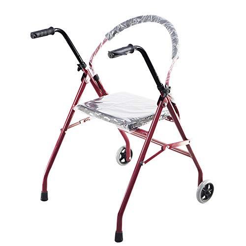 Djgjhnc RFJJAL Klappbare Gehhilfe mit Rädern mit Sitz Doppelarmlehnen Altes Gehhilfe-Stativ 65 × 63 × 77 (87) cm