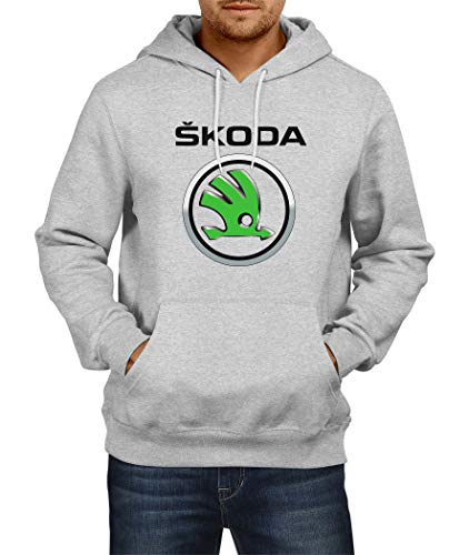 Sweatshirt Skoda 1 Logo Hoodie Herren Men Car Auto Tee Black Grey Long Sleeves Present Christmas (2XL, Grey)