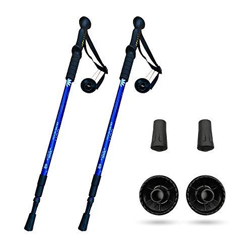 CXS Lot de 2 bâtons de randonnée légers en alliage d'aluminium Réglables Système antichoc 1,35 cm Bleu