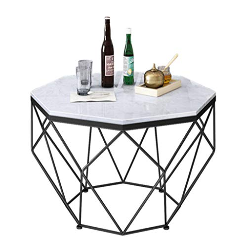 Salontafel voor thuis, theetafel, salontafel, bijzettafel van zwart marmer, in marmer-look, woonkamer voor familie/studio/kantoor