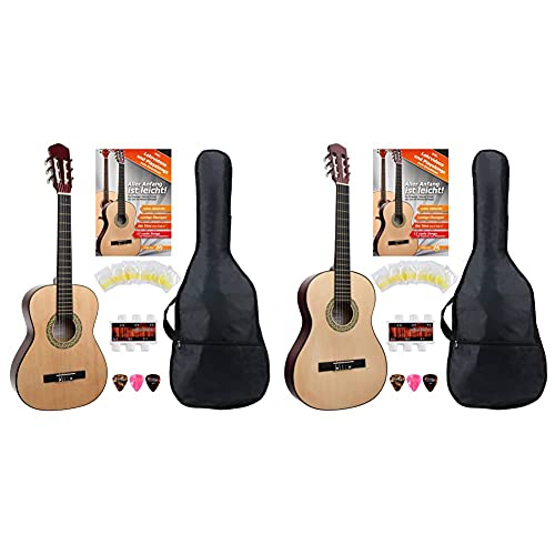 Classic Cantabile AS-851 3/4 Konzertgitarre Starter Set (Komplettes Anfänger Set mit Klassik Gitarre, 3x Plektren und Stimmpfeife) & AS-851 4/4 Konzertgitarre Starter Set