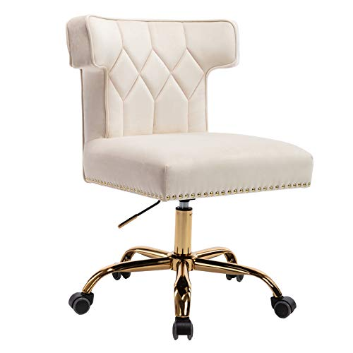 Dolonm Velvet Desk Chair Accent Swivel Office Chair with Wheels Upholstered Vanity Task Chair Mid-Back Height Adjustable Modern Tufted Rolling Chair for Home Office Bedroom Living Room (Ivory)