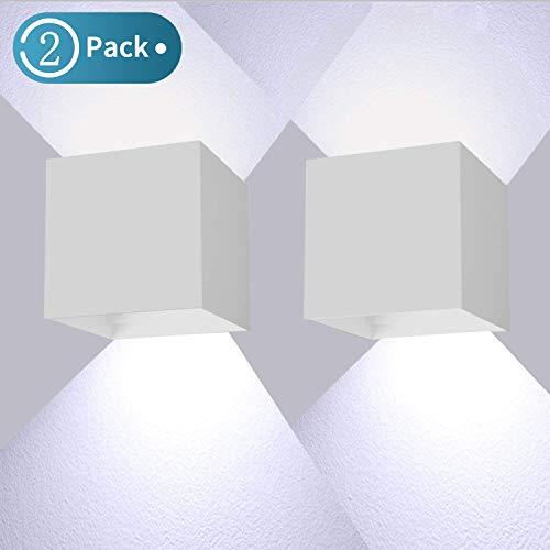 12W LED Wandleuchte 2 Pack Wandlampe Auf und ab Einstellbarer Lichtstrahl Wandbeleuchtung LED 6000K Weiß IP65 Wasserdichte(Weiß)