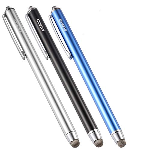 MEKO iPadタッチペン タブレット スマートフォン スタイラスペン iPhone android ツムツム 導電繊維 マイクロニット6mm 3本+交換ペン先3個+ストラップ付き(ブルー/ブラック/シルバー) (6MMペン先)