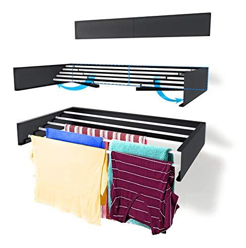 Tendedero Step Up – Para montar en paredes - Retráctil - Tendedero plegable para interiores o exteriores -y compacto que ahorra de espacio, capacidad para 20 kilos, 3.5 metros (Gris-70cm)