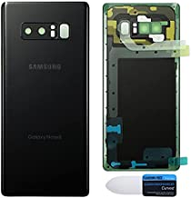 Maya Replacement Back Glass Cover Back Battery Door w/Pre-Installed Camera Lens/Frame, Adhesive & Removal Tool Samsung Galaxy Note 8 - All Models N950U All Carriers (Midnight Black)