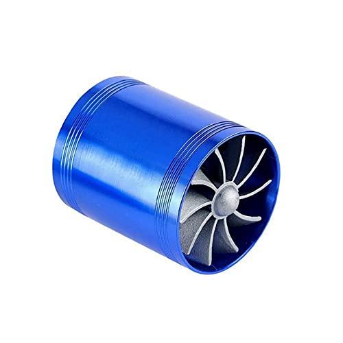OLDJTK Turbina de automóvil Supercharger Turbo Cargador de un Solo Ventilador Gas de Combustible Auto Filtro de Aire Filtro de Aire Reemplazo de Doble Reemplazo Ahorro de admisión (Color : Blue)