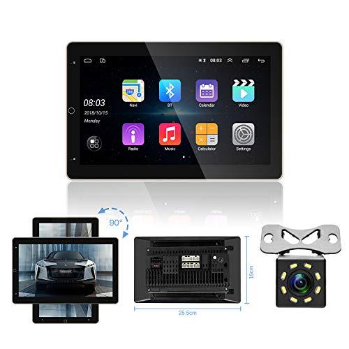 OiLiehu Doble DIN Android Car Radio Bluetooth, Reproductor Multimedia con Pantalla táctil giratoria de 10 Pulgadas, Soporte para WiFi/GPS/USB/FM/Micrófono Externo/Mirror Link+Cámara de visión Trasera
