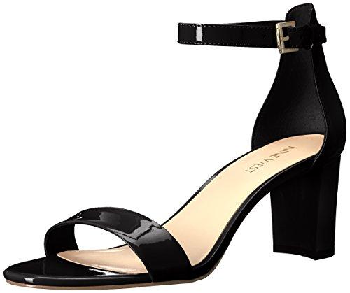 NINE WEST Women's Pruce Heeled Sandal, Black/Black, 7.5