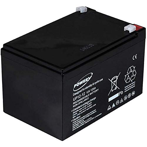 Powery Batería de Gel para E-Bike (Bicicleta Eléctrica) 12V 12Ah
