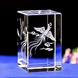 RFGTH Estatua Urncrystal Cubo De Cristal Estatua Arte Productos De Cristal Santa Bestia Cristal Interior Tallado Phoenix Creativo Adornos De Cristal