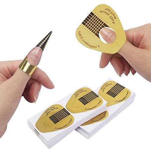 DILISEN 400 PCS en Forme de Fer à Cheval en Forme de Conseils d'extension d'art d'ongle, ongle Acrylique/UV Gel Nail Form Guide Autocollants (400 Pack) (400 Pack)