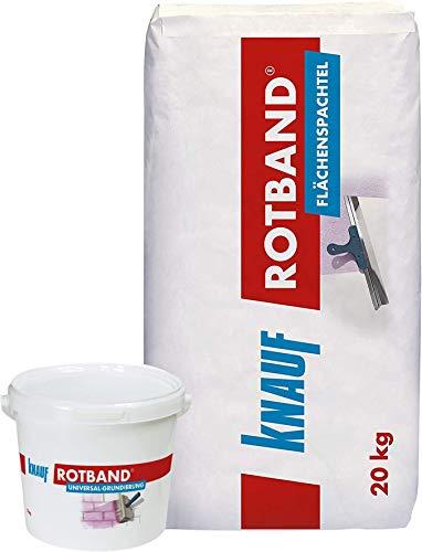 Knauf Rotband Flächenspachtel-Set mit 5kg Universal-Grundierung für optimale Haftung und 20kg Flächenspachtel – schnell härtende Spachtel-Masse