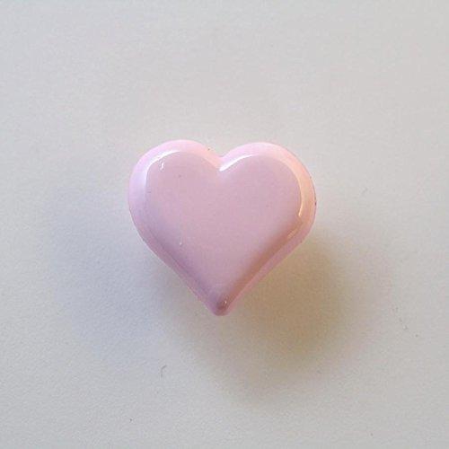 Lot de 10 x Boutons Coeur à Queue 15mm - Rose Clair