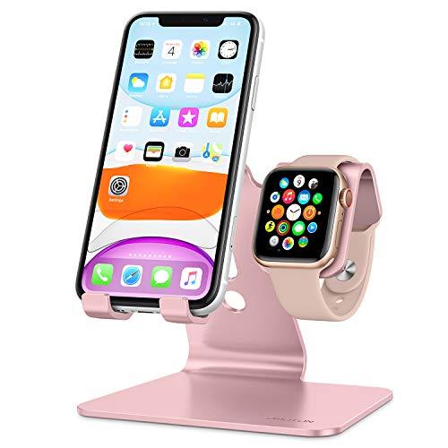 OMOTON iwatch Ständer, 2 in 1 Handy Ständer für alle Handys und Apple Watch Serie 5/4/3/2/1, Tisch Halter aus Alu-Legierung mit festem Winkel für iPhone, Huawei und andere Smartphone, Rose Gold