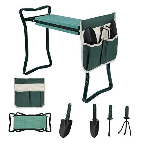 Hengda Garten Kniebank 2 in 1 Gartenhocker mit Gartenwerkzeug Tasche(Inkl. 4 * Gartenwerkzeug) für Gartenarbeit, Faltbar, Tragbar