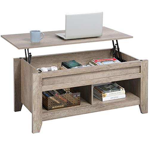 YAHEETECH Lift Top Coffee Table with Hidden Storage Compartment & Lower Shelf, Dining Table Farmhouse for Living Room, 24.2in H, Gray