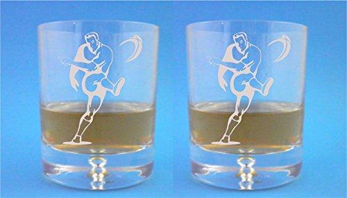 Paar Bubble Base Whisky Bril met Rugby Player Design met geschenkdoos - Inclusief Graveren tot 30 Personen