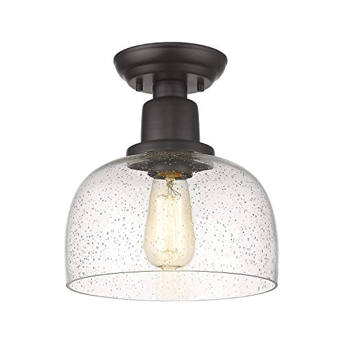 Eapudun Semi Flush Mount Ceiling Light 1-Light Farmhouse Indoor Flush Ceiling Light in Oil Rubbed Bronze Finish with Clear Seeded Glass Shade, FMA1123-ORB