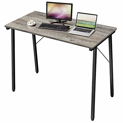 Yaheetech Escritorio 100 x 50 x 75 cm de Madera Metal Mesa para Ordenador para Oficina Despacho Mesa de Estudio Gris