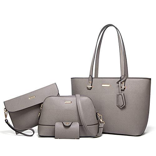 Women Fashion Handbags Tote Bag Shoulder Bag Top Handle Satchel Purse Set 4pcs (Gray)