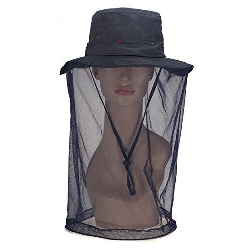ECYC Chapeaux d'été pour Femme extérieur Anti-Moustique Filet Maillage Chapeau Avant, Vrai Bleu