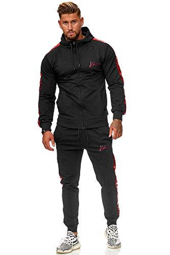 Koburas Herren Jogginganzug Trainingsanzug Sportanzug Jogginghose Hoodie-Sporthose Jogger Modell 3391 (M, Schwarz-Rot)
