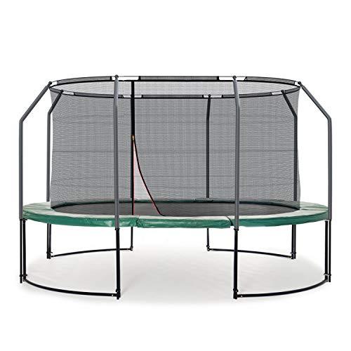 Ampel 24 Deluxe Outdoor Trampolin oval 313 x 460 cm komplett mit innenliegendem Netz, Belastbarkeit 180 kg, Sicherheitsnetz mit 8 Stangen