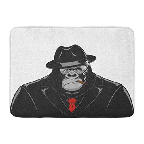Zome Lag deurmat badmat ingang mat badkamer tapijt rode Gorilla aap in pak Gangster maffia sigaar hoed grappige Ape badkamer Decor tapijt badmat 60x40cm